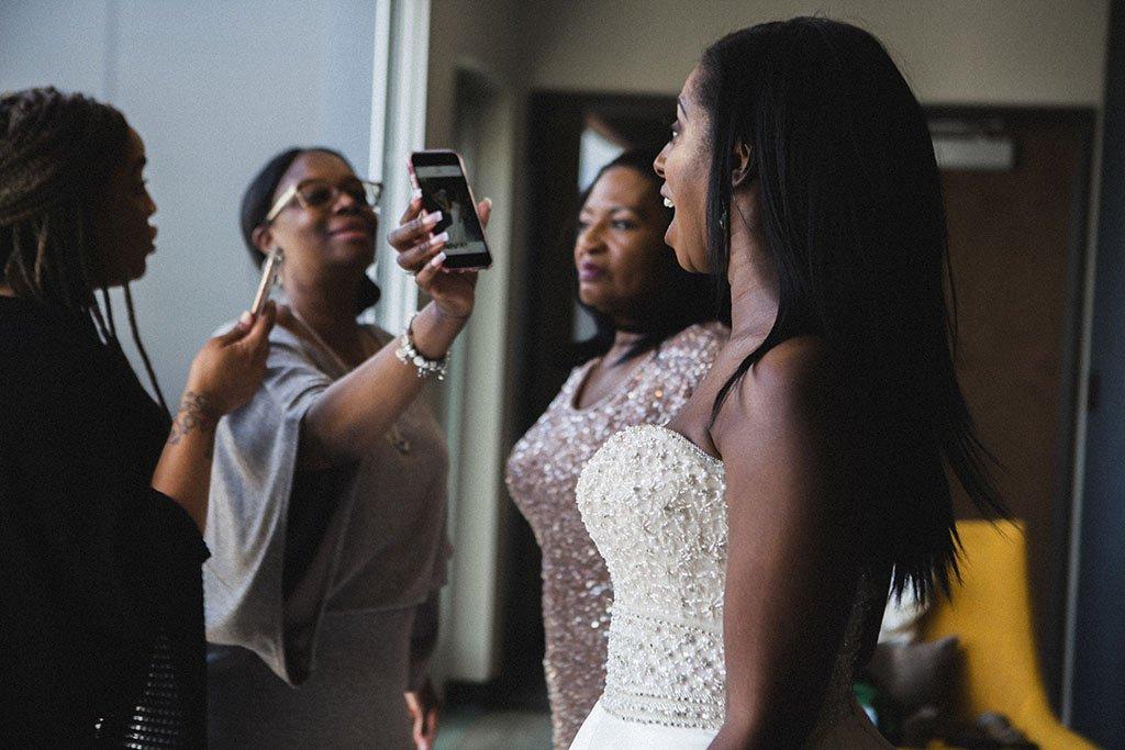 Bride surprised documentary wedding photography
