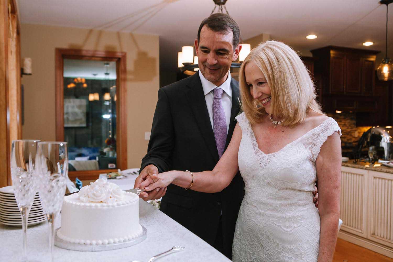 Cake Cutting Minneapolis Wedding Photographer Mature Bride Groom Kim & David's Wedding