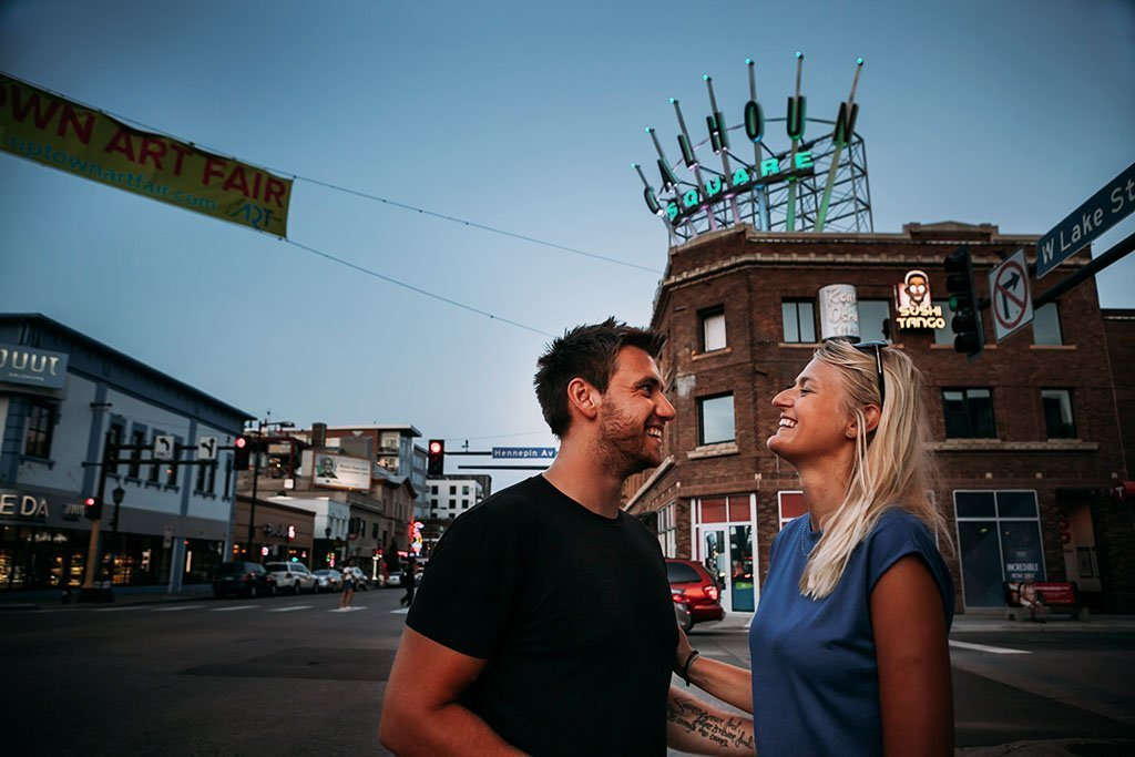 Calhoun Square Uptown Minneapolis Engagement Photographers Marketa & David
