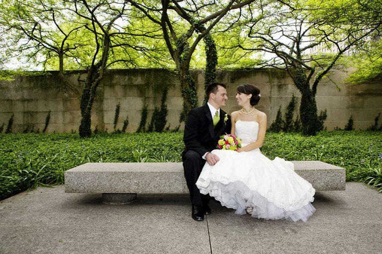 Chicago Art Institute Museum Gardens Wedding Portrait, Chicago Wedding Photographers