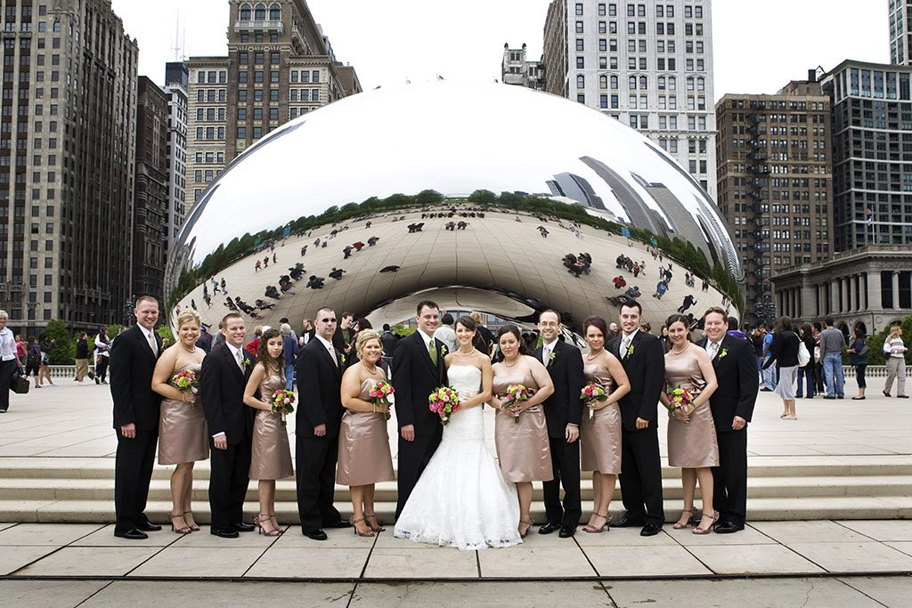 Chicago Bean Wedding Bridal Party Portrait, Millennium Park, Cloud Gate, Beth & Anthony
