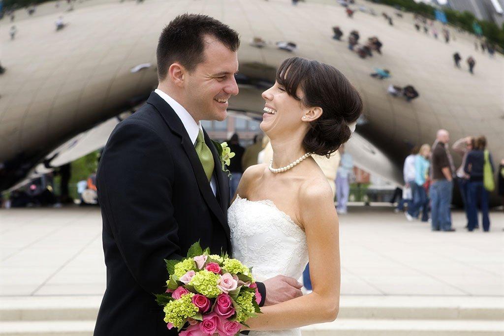 Chicago Bean Wedding Photography Portrait, Beth & Anthony