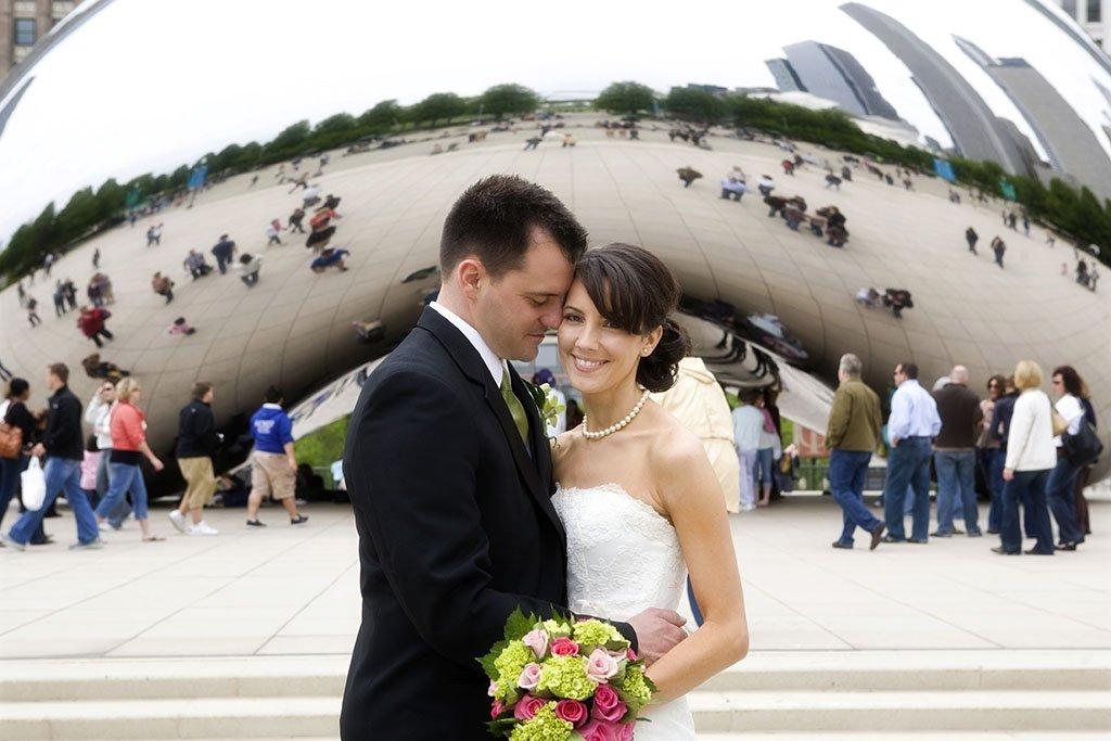 Chicago Bean Wedding Photography, Cloud Gate, Millennium Park Chicago Wedding Portrait, Beth & Anthony