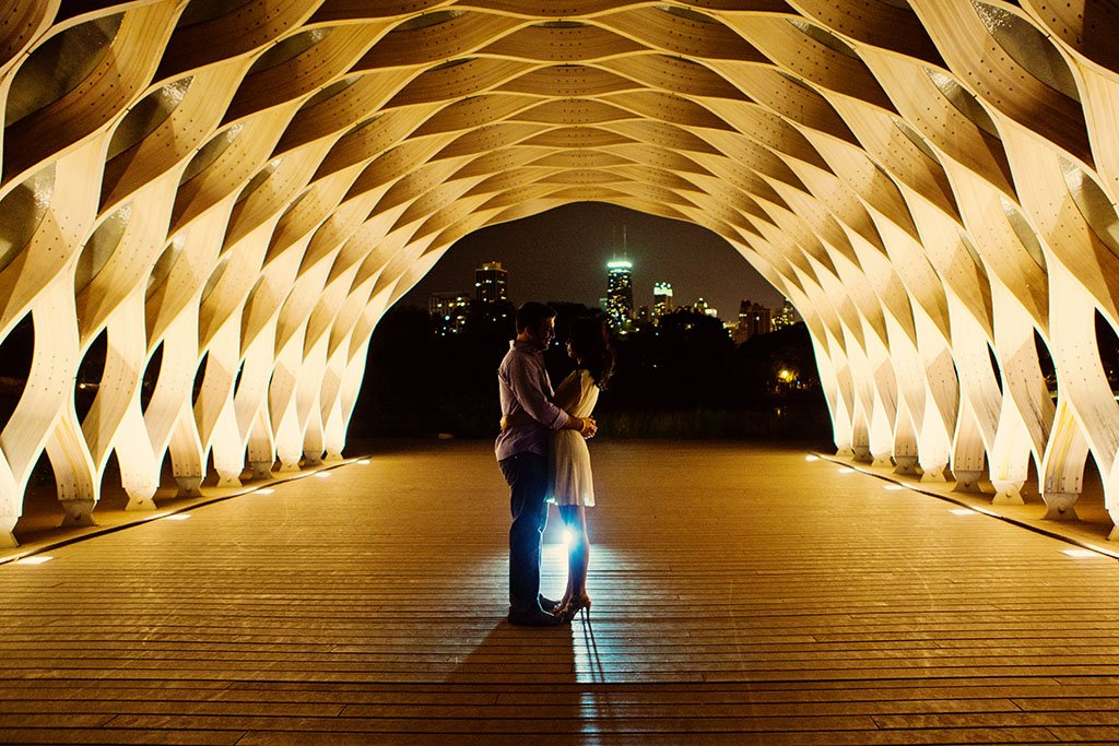 Lincoln Park Night Engagement Photography, Chicago Wedding Photographers, Minneapolis Wedding Photographers, Honey comb sculpture, back light, Twin Cities, Illinois, Midwest Wedding Photography