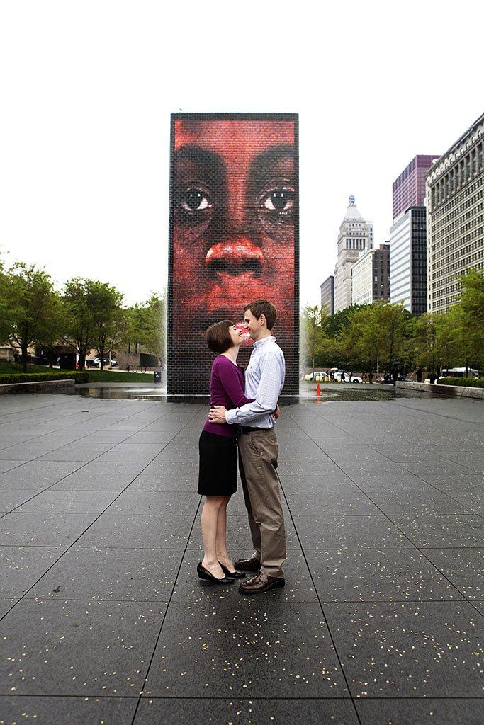 Crown Fountain millennium park chicago engagement photo, Moira & Brent Engagement