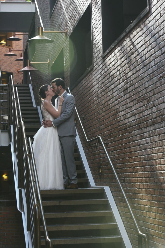 Crowne Plaza Minneapolis West Staircase Wedding Photography, Krissy & Ryan Married