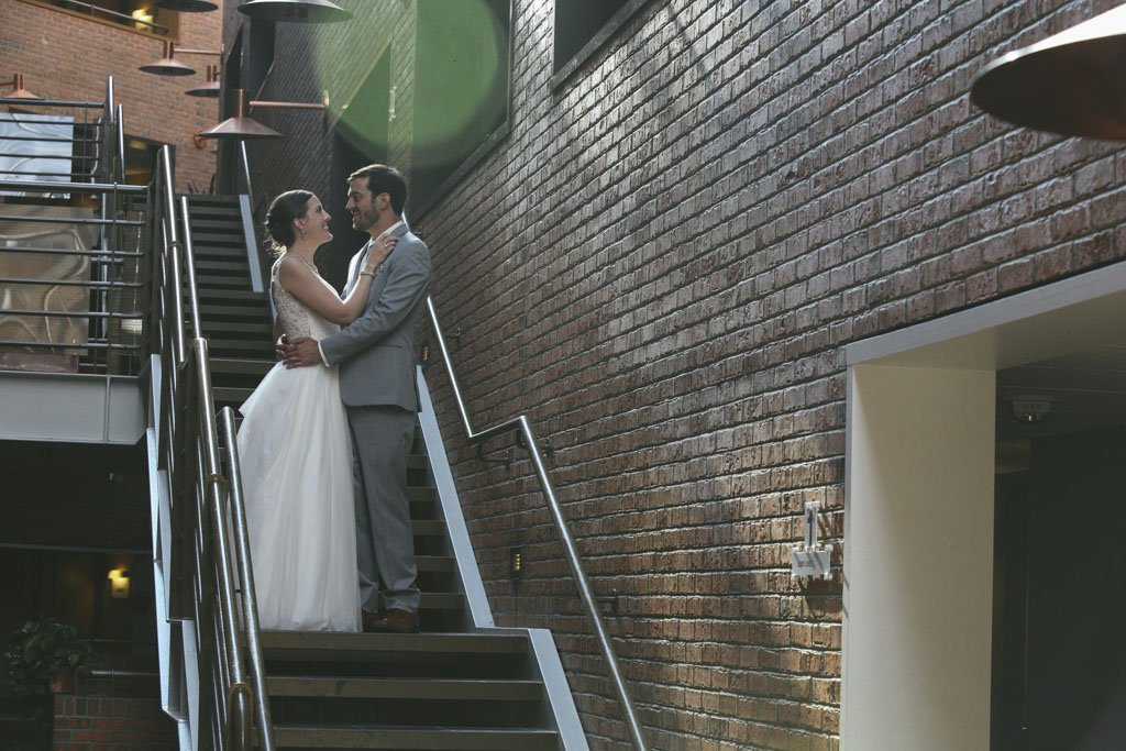 Crowne Plaza Minneapolis West Staircase Wedding, Krissy & Ryan Married, Twin Cities Wedding photographer