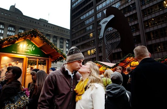 Daley Plaza Holiday Market Chicago Engagement Photographers
