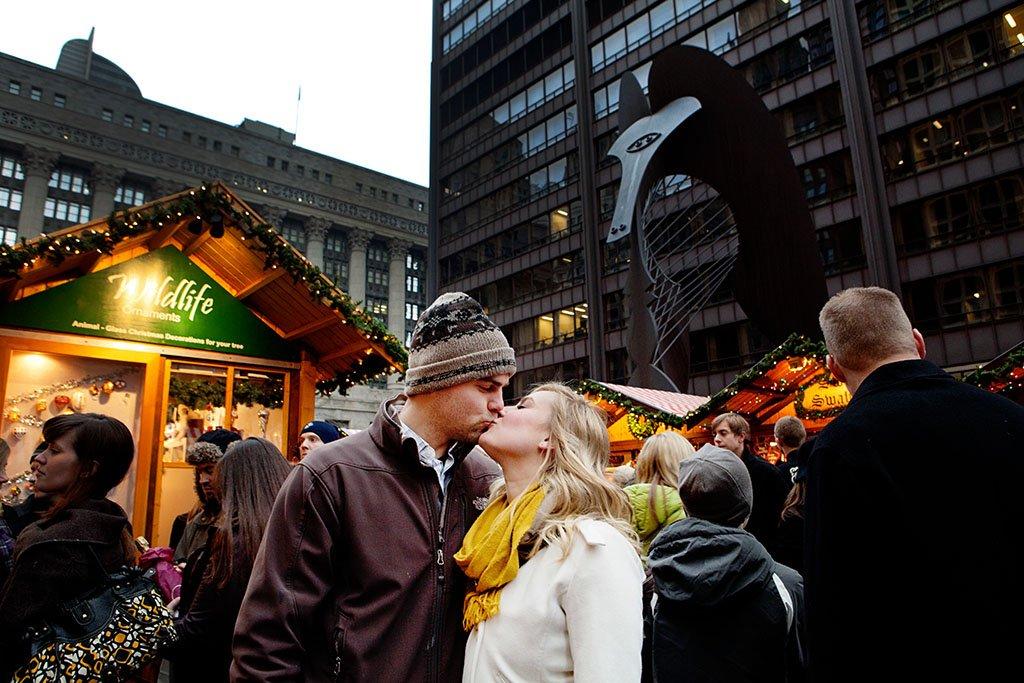 Daley Plaza Holiday Market Chicago Engagement Photographers, Kristina + John Engaged