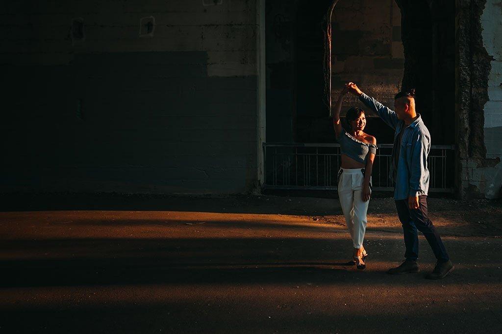 Dance St Anthony Main Minneapolis Engagement Photographers, twirl, spin, underpass, dramatic, fun, Twin Cities, Saint Paul