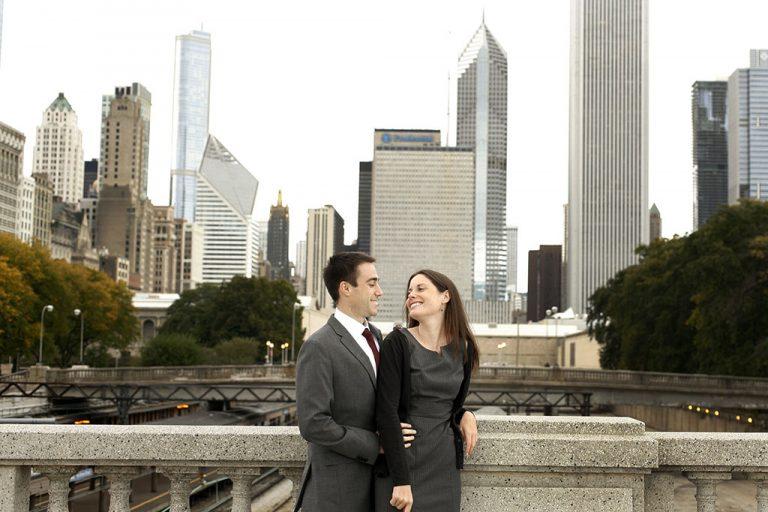 Downtown Chicago Bridge Engagement Photography, Metra, Amtrak train station, skyline, Minneapolis Wedding Photographer