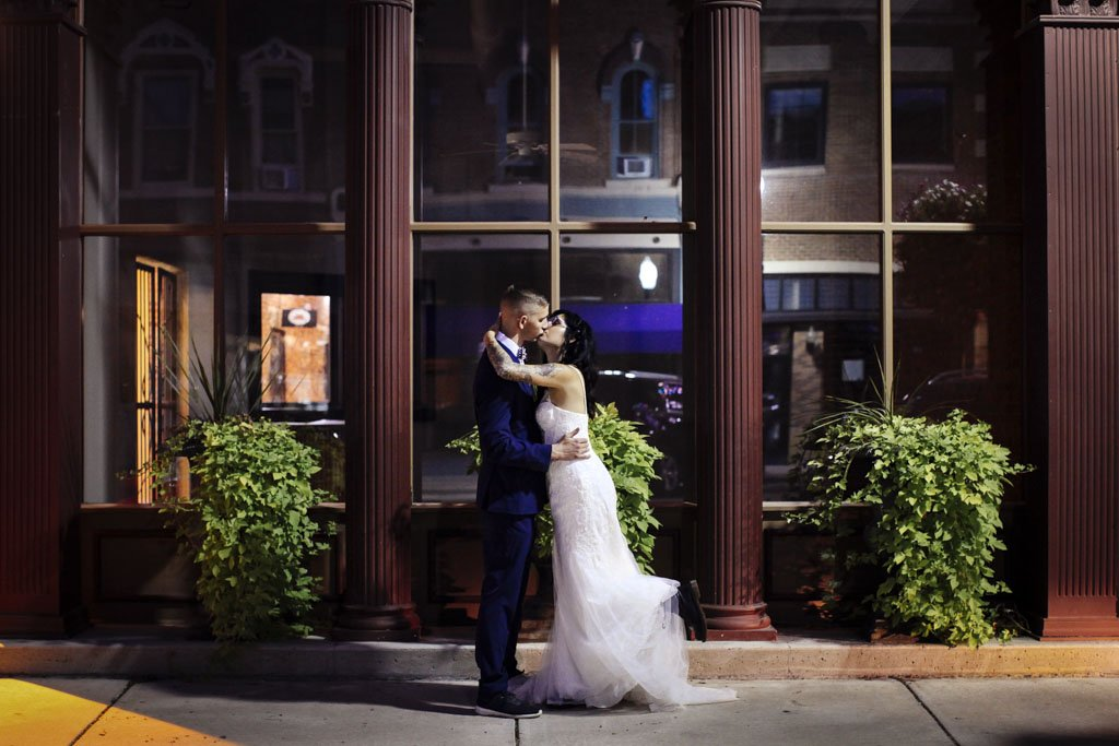 Downtown Faribault MN Night Wedding Photography