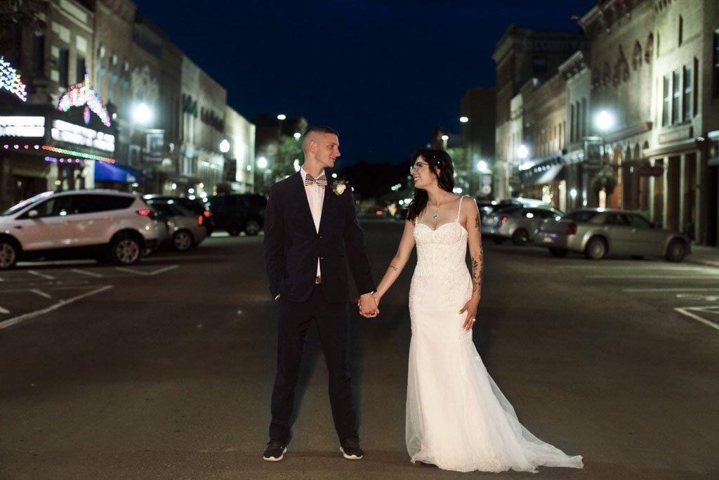 Downtown Faribault Night Wedding Photography, main street