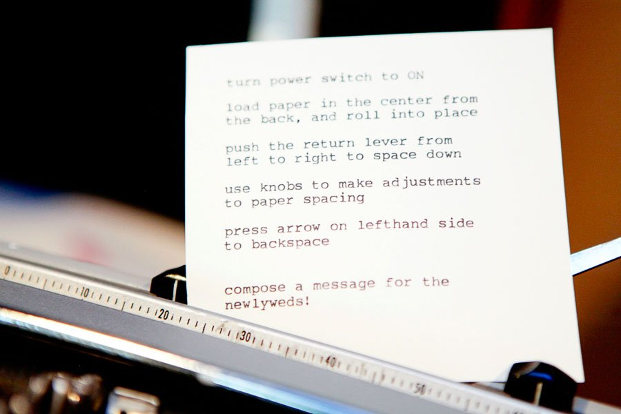 Electra Typewriter Wedding Guest Notes