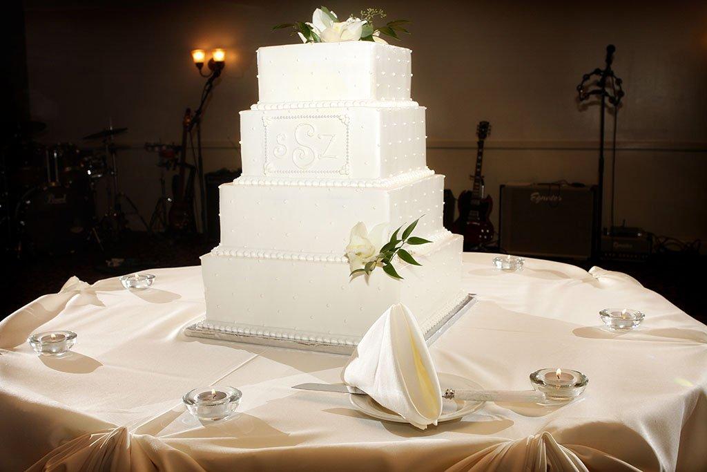Four Tier Square White Wedding Cake
