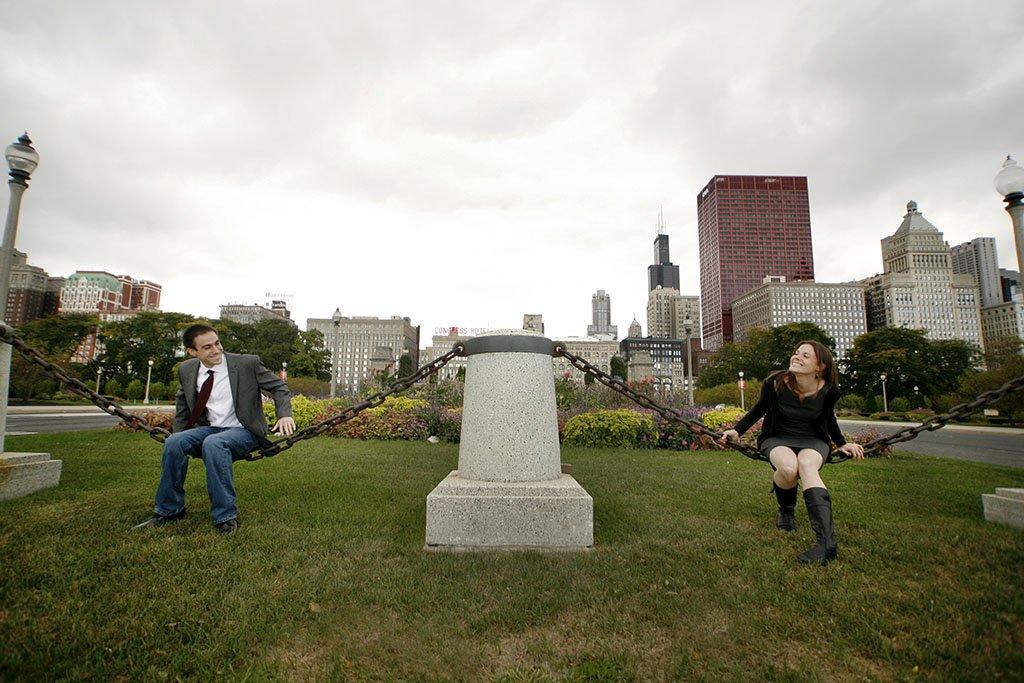 Grant Park Downtown Chicago Engagement Photography, fun portraits
