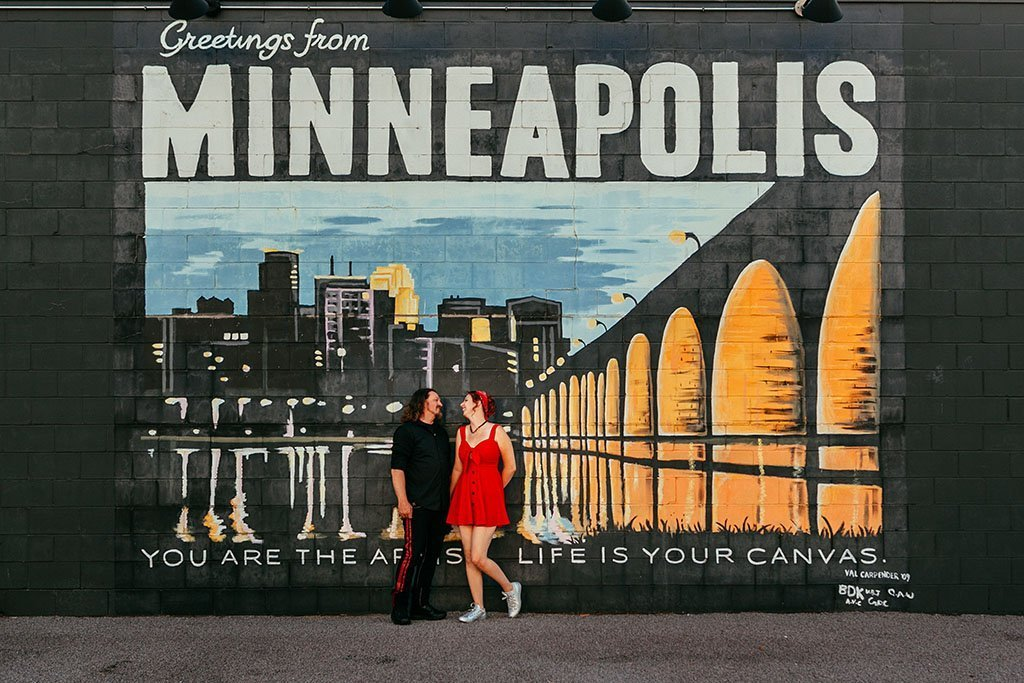 Greetings from Minneapolis Mural Twin Cities Engagement Photography