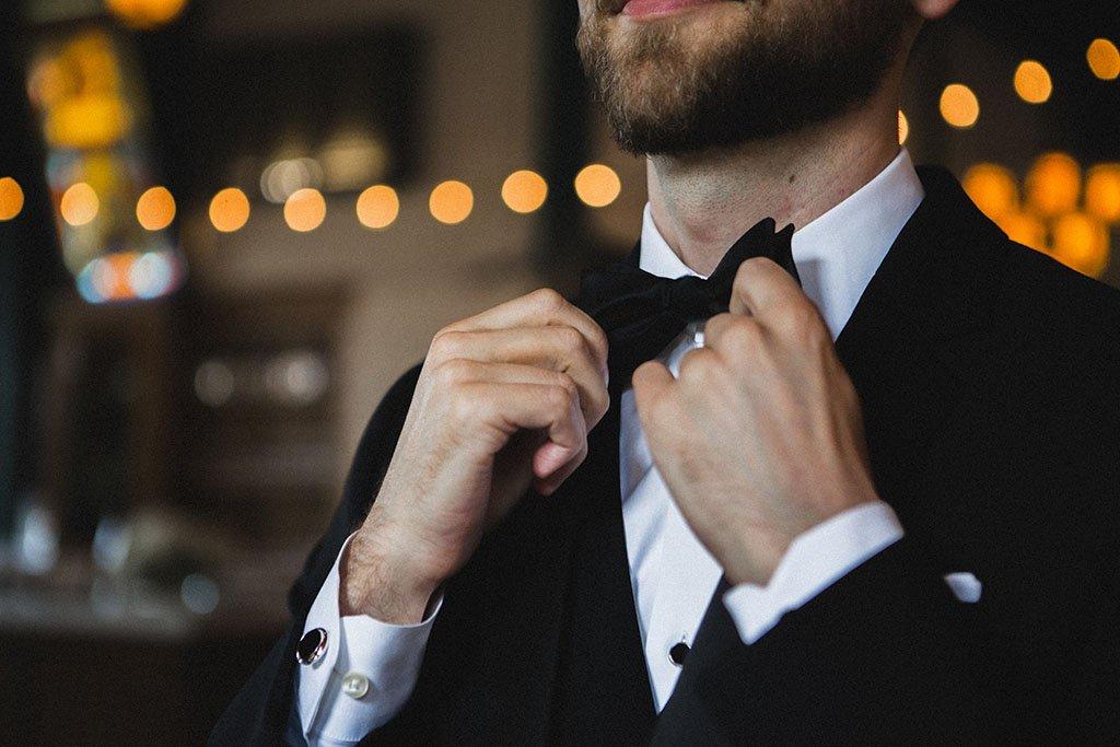 Groom Bow Tie Detail, Nicollet Island Pavilion Wedding
