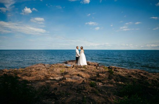 Groom Bride Portrait Lake Superior Minnesota Wedding Photographe