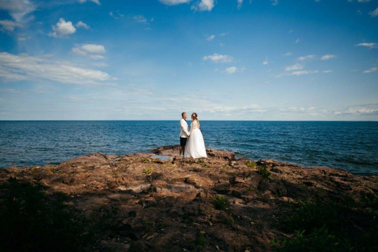 Groom Bride Portrait Lake Superior Minnesota Wedding Photographe