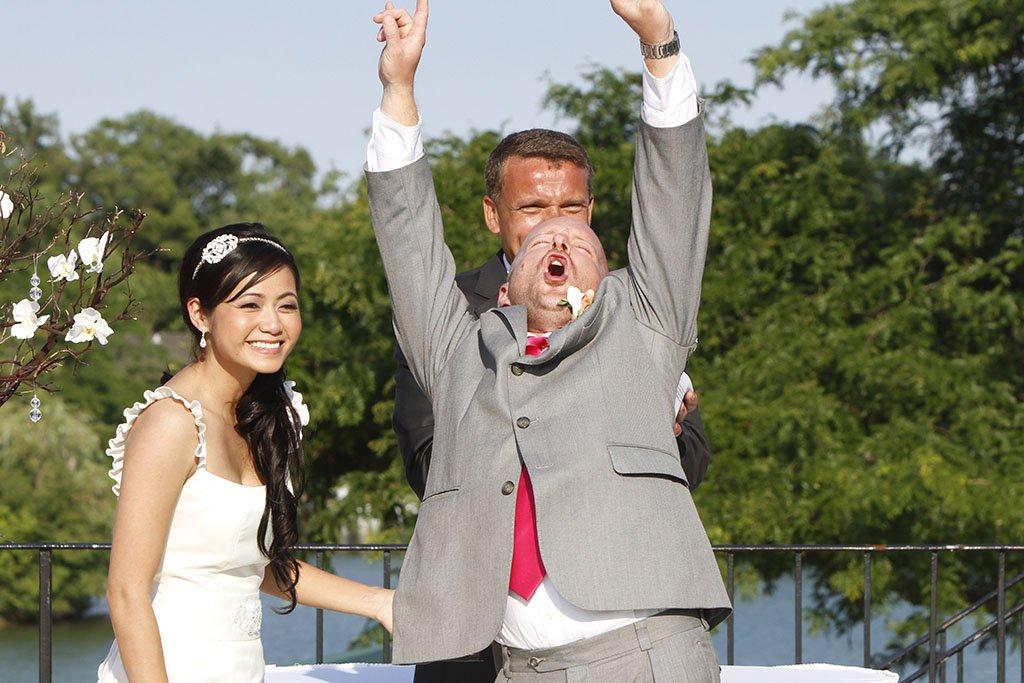 Groom Celebrating Marriage, Liz & Brian Married