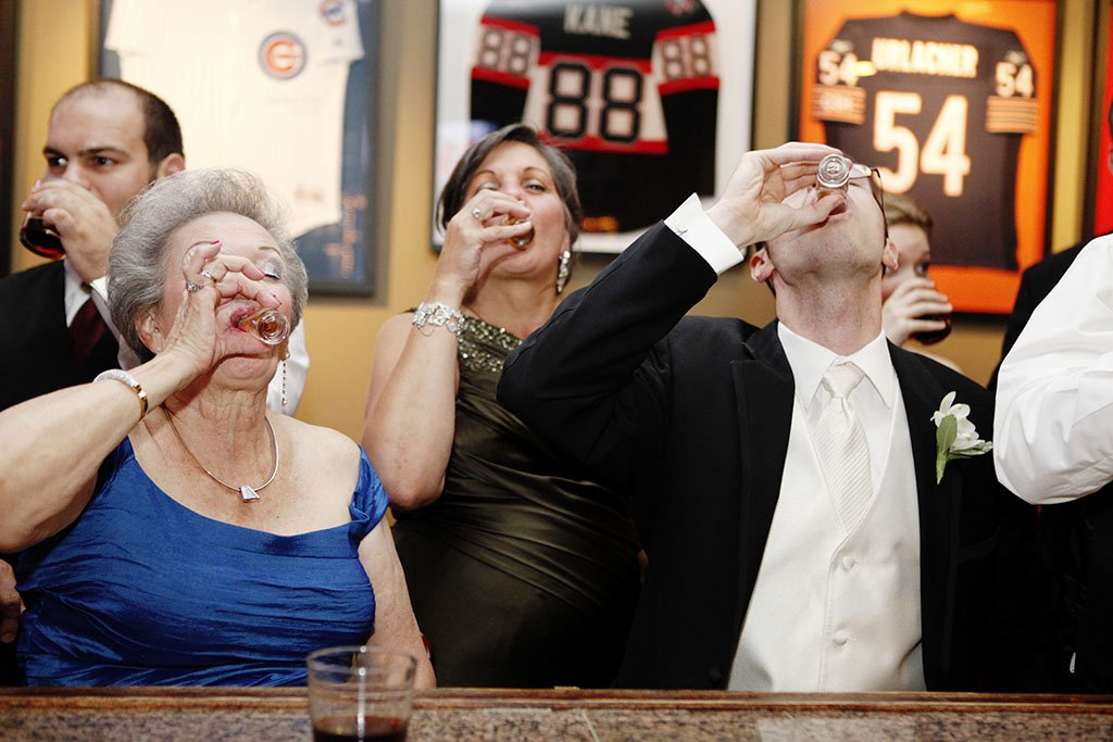 Groom Grandmother Shots Wedding Reception Bar