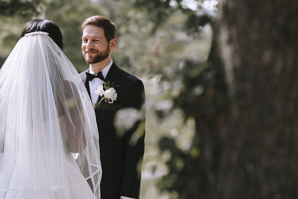 Groom Wedding Ceremony Outdoors, Nicollet Island Pavilion Wedding