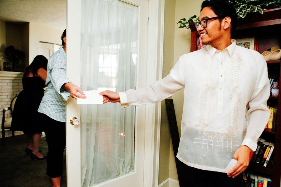 Groom traditional Filipino wedding shirt, Kate and Desi Married