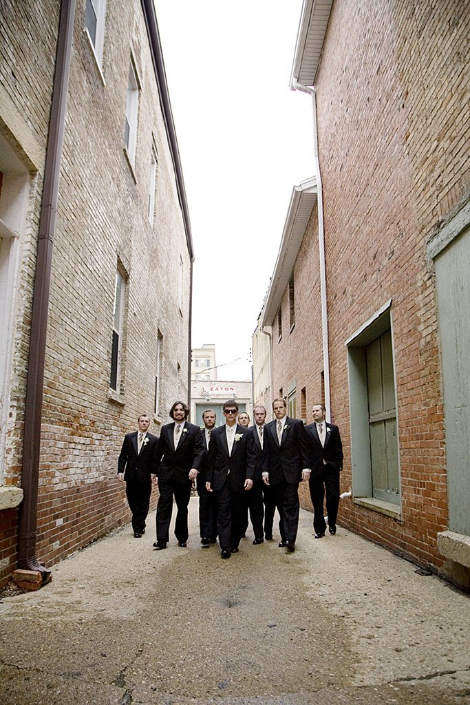 Groomsmen reservoir Dogs, urban alley photography