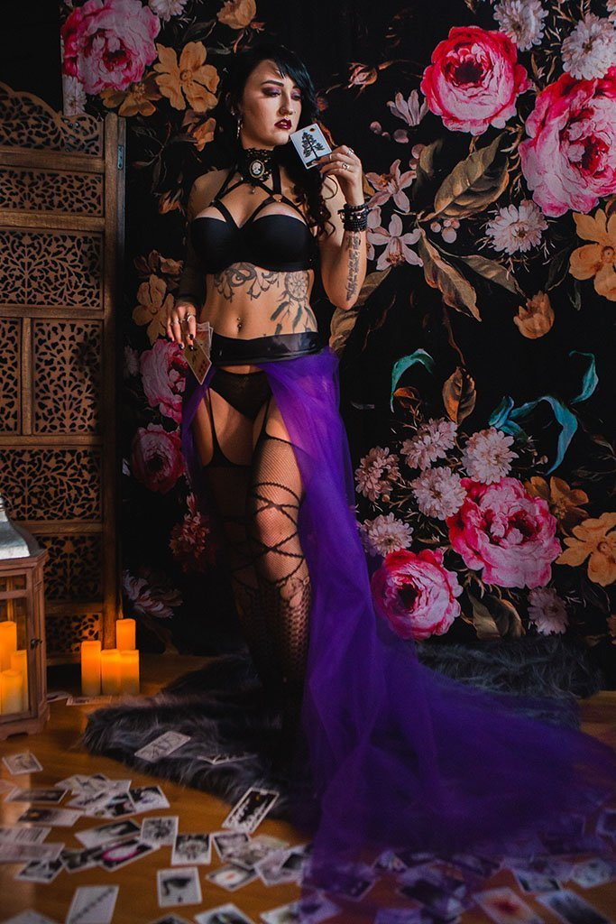 Mystic Boudoir Photography Shoot, Tarot Cards, Taro, Halloween, tattoos, witch, dark, moody, Minneapolis, Twin Cities, Saint Paul, Minnesota Boudoir