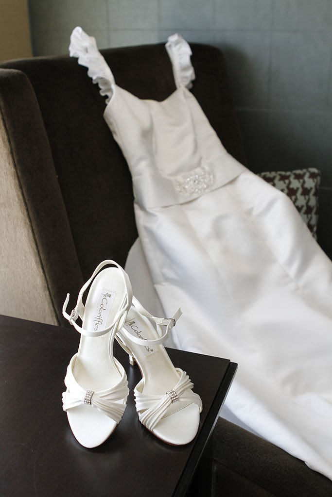Homemade Wedding Dress and Satin Bridal Shoes, Sheraton Hotel Glenview, Illinois