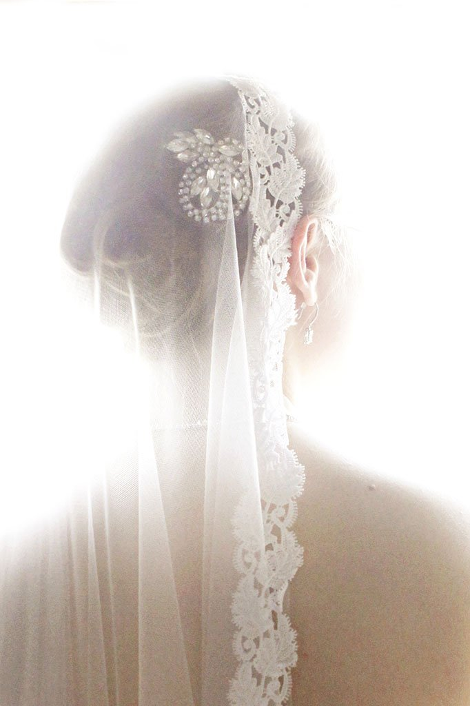 Lace Bridal Veil, Chicago Wedding Photography