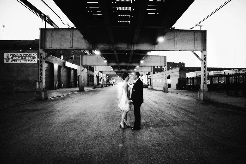 Lake Street Train tacks Chicago Wedding, Megan & Pascal Married
