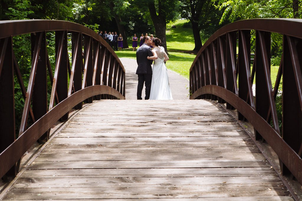 Manomin Park Wedding Portraits Bridge, Fridley Wedding Photographer