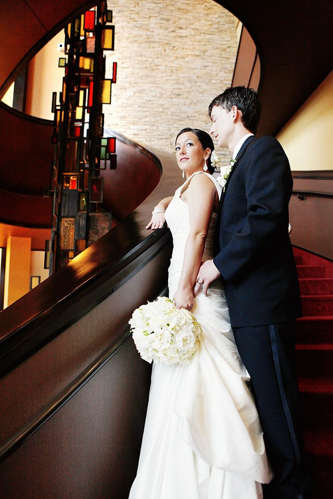 Marriott Hotel Bloomington Stairway Bride Groom Wedding Portrait, Bloomington Normal, Illinois
