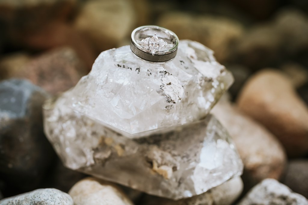 Raw Crystals Wedding Rings, St Paul Wedding Photographer, McColl Pond