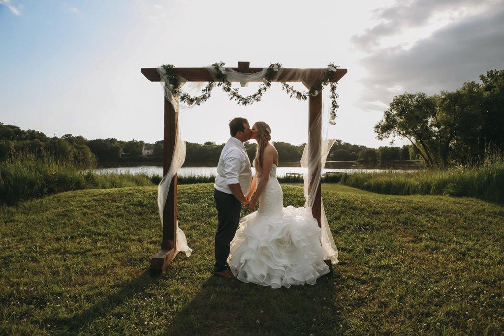 Summer Outdoor Wedding Altar Sunset