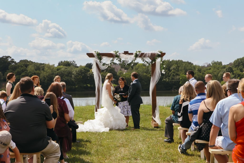 McColl Pond Wedding Ceremony, August Summer Wedding, Twin Cities Wedding Photographer