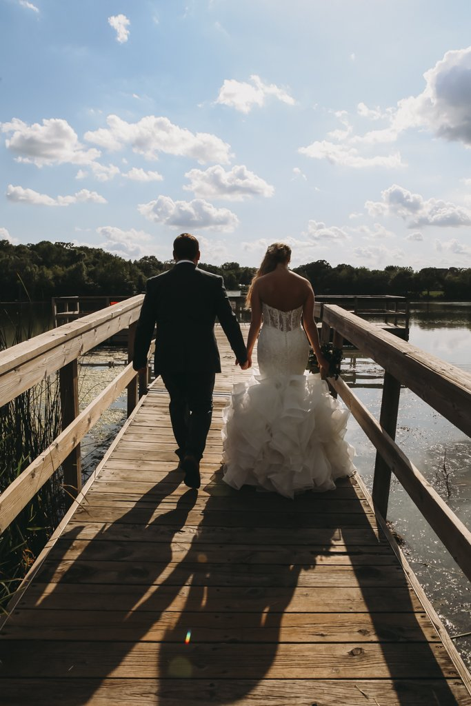 McColl Pond Bridge Wedding Photography, Lake wedding portrait