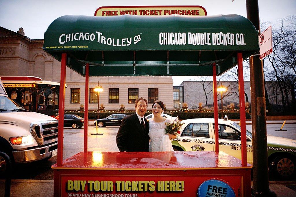 John & Kathleen, fun candid wedding photography portraits downtown Chicago