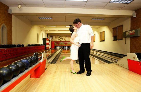 Michigan Shores Country Club Bowling Alley Wedding Photo