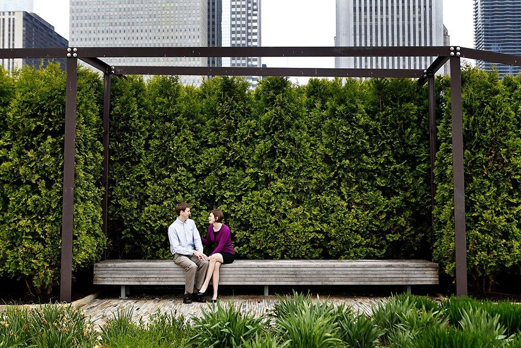 Millennium park Gardens Summer Chicago engagement photography, Chicago Wedding Photographer, Moira & Brent Engagement