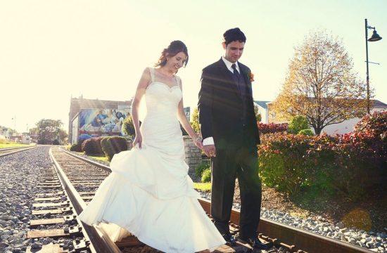 Mural Train Tracks Lemont Illinois Wedding Photography