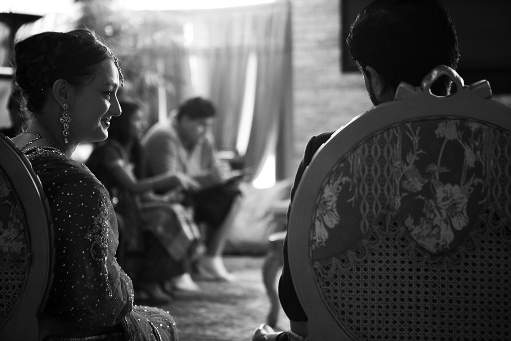 Bride looking at Groom, Muslim Engagement Ceremony Documentary Photography