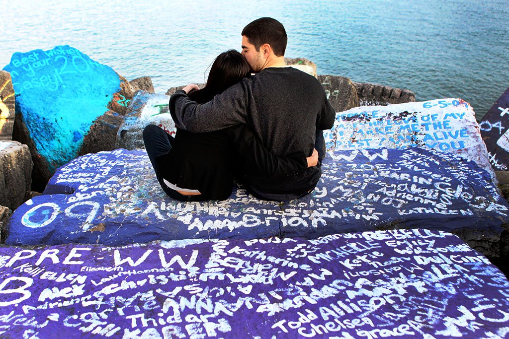 Northwestern University Engagement Photography, graffiti rocks Lake Michigan