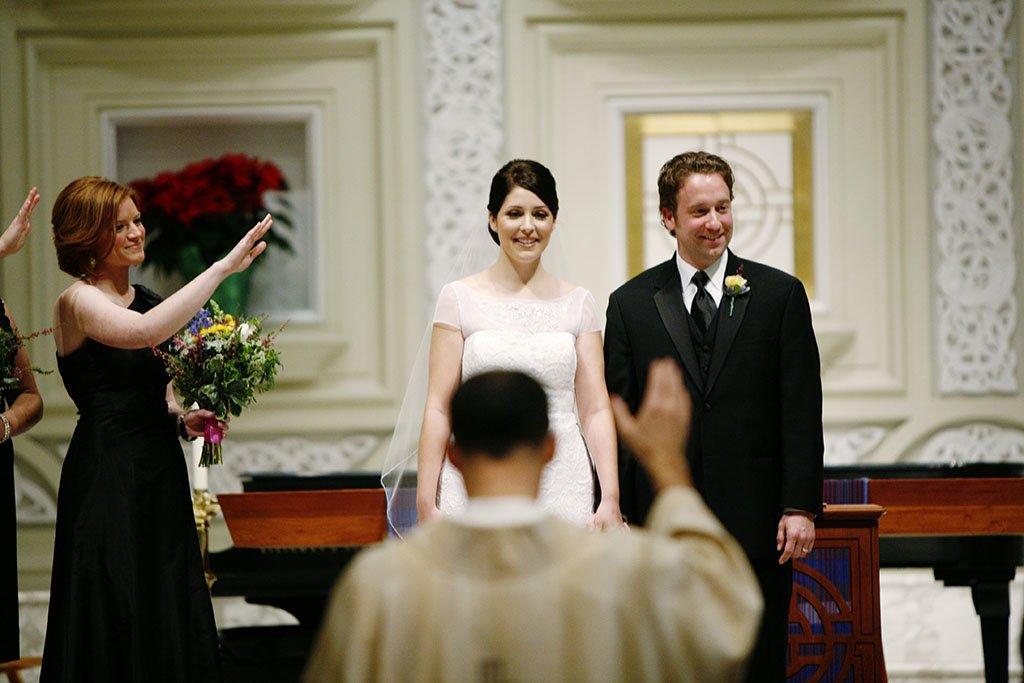 Old St Patrick's Catholic Church Chicago blessing wedding ceremony