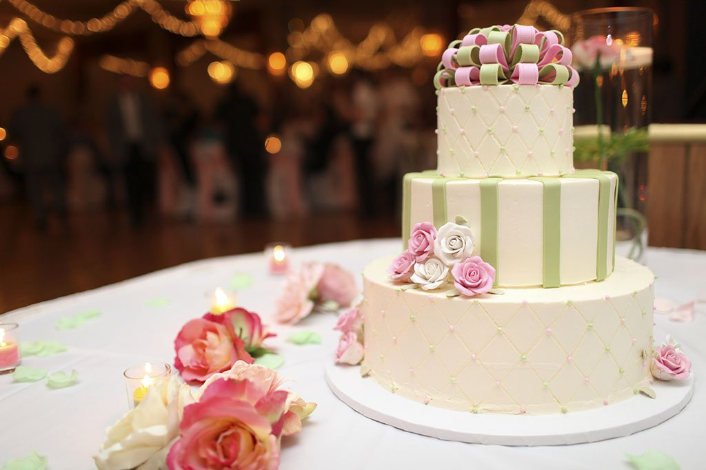 Pink Green Wedding Cake, Chicago Wedding Photographers