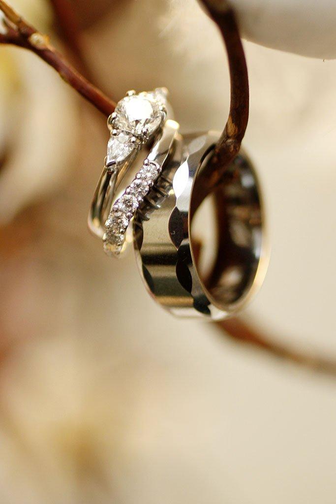 Platinum Wedding Rings Tree Branch, Liz & Brian Married