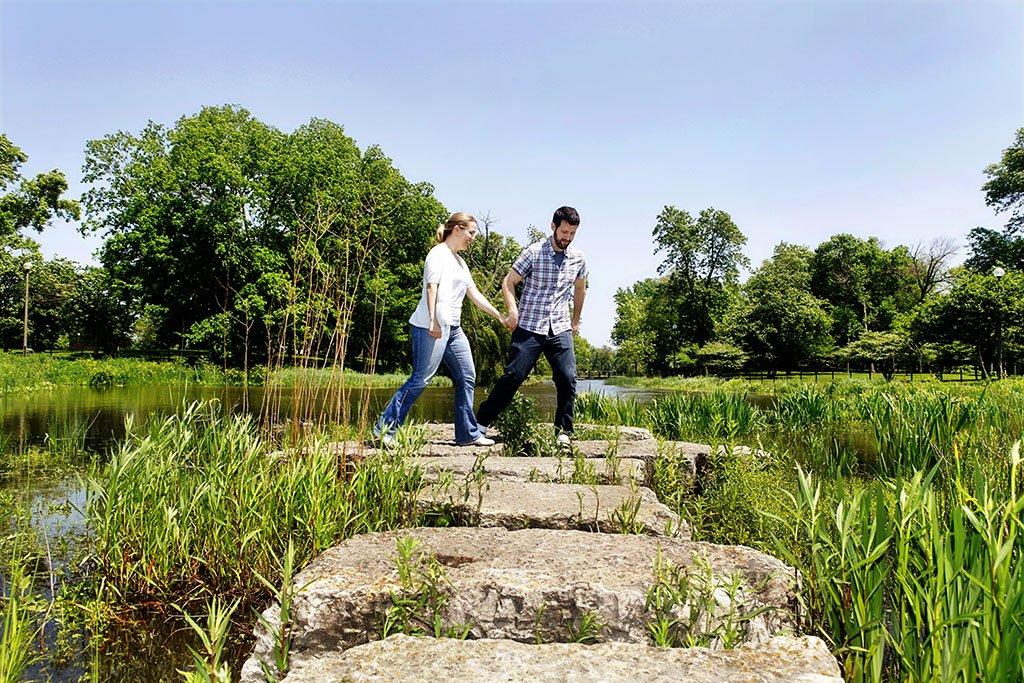 Pond Humboldt Park Chicago Engagement Photo, Fun Wedding Photography