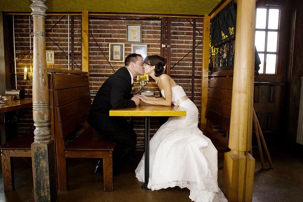 Potbelly Restaurant Bride Groom Portrait, Minneapolis Wedding Photographer, Beth & Anthony
